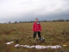 Matt with first PhD core in the bag at Walton Moss, UK