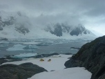 Spectacular location for moss coring – Green Island, Antarctic Peninsula.