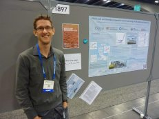Matt presenting his poster at AGU in San Francisco.